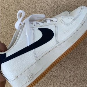 nike air force ones white w navy swoosh